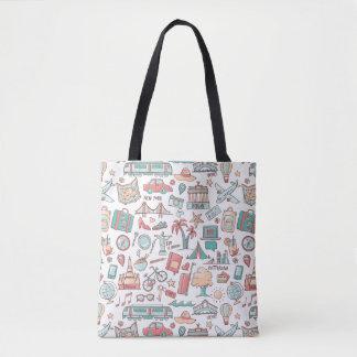 Pastel Tourist Pattern Tote Bag