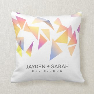 Pastel Triangle Confetti on White Wedding Cushion