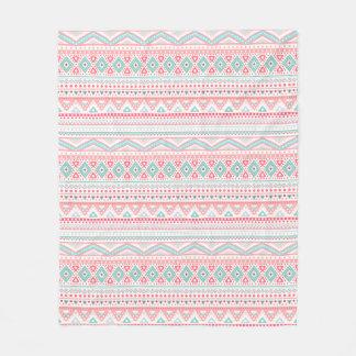 Pastel Tribal Pattern Fleece Blanket, Medium