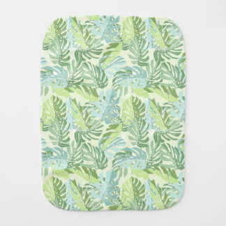 Pastel Tropical Palm Leaves Baby Burp Cloths