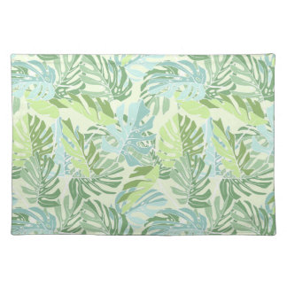 Pastel Tropical Palm Leaves Placemat