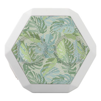 Pastel Tropical Palm Leaves White Bluetooth Speaker