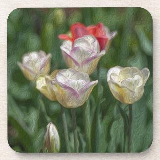 Pastel Tulips Beverage Coaster