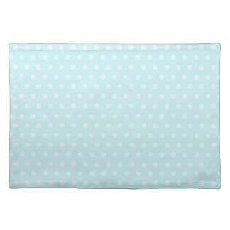 Pastel Turquoise Blue and White Polka Dots Placemat
