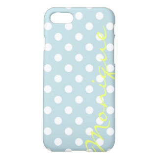 pastel turquoise & white dots with name iPhone 8/7 case