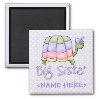 Pastel Turtle Big Sister Square Magnet