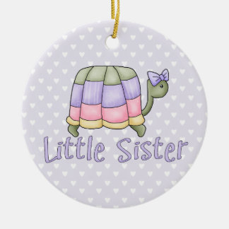 Pastel Turtle Little Sister Christmas Ornament