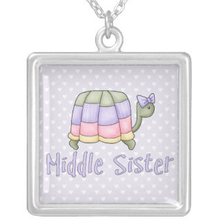 Pastel Turtle Middle Sister Silver Plated Necklace