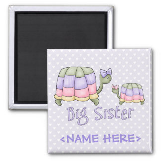 Pastel Turtles Big Sister Square Magnet
