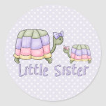 Pastel Turtles Little Sister Round Stickers