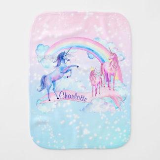 Pastel Unicorn Baby Girl Burp Cloth