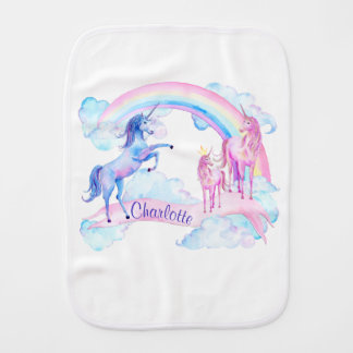 Pastel Unicorn Baby Girl Burp Cloth