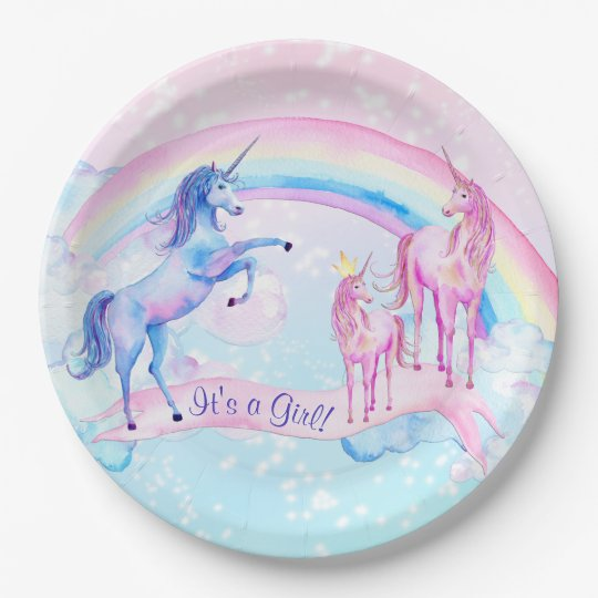 Pastel Unicorn Baby Shower Paper Plates