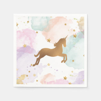 Pastel Unicorn Birthday Party Disposable Serviette