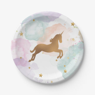 Pastel Unicorn Birthday Party Paper Plate