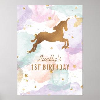 Pastel Unicorn Birthday Party Sign Poster