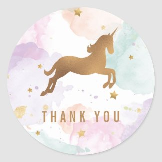 Pastel Unicorn Birthday Party Thank You Stickers