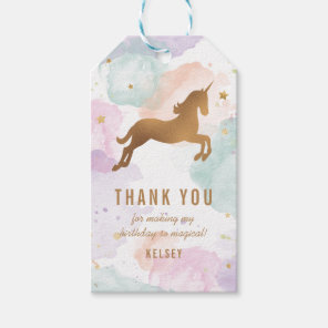 Pastel Unicorn Birthday Thank You Gift Tags