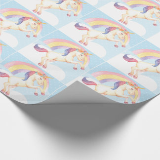 Pastel Unicorn, Clouds, Rainbow Wrapping Paper