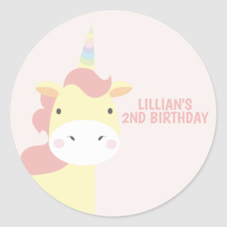 Pastel Unicorn Party Classic Round Sticker