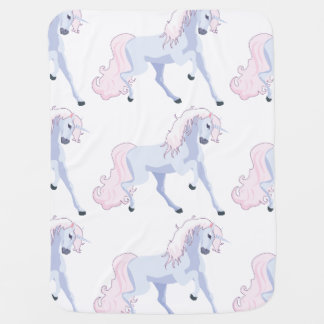 Pastel Unicorn Pink and Blue Baby Blanket