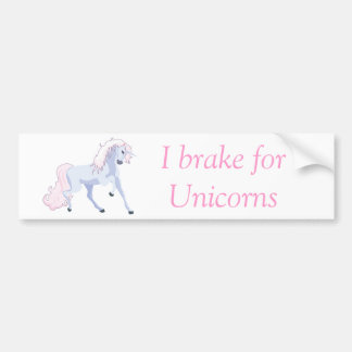 Pastel Unicorn Pink and Blue Bumper Sticker