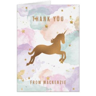 Pastel Unicorn Thank You Note Card