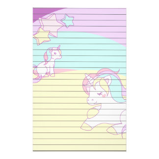 Pastel Unicorns in Yellow Purple Pink and Turquois Stationery