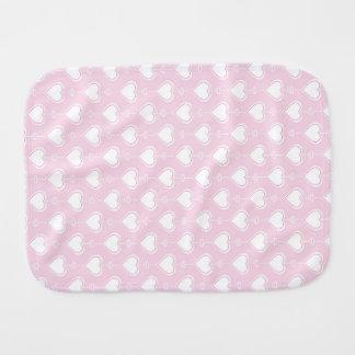 Pastel Valentine Hearts Baby Burp Cloths