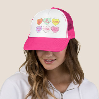 Pastel Valentine's Day Candy Hearts Love Sweets Trucker Hat