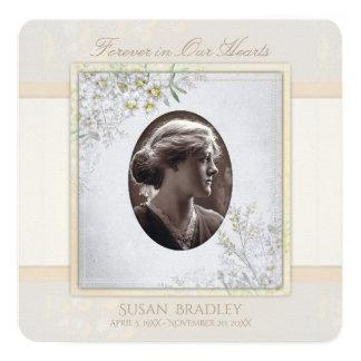 Pastel Vintage Flowers Funeral Celebration of Life 13 Cm X 13 Cm Square Invitation Card
