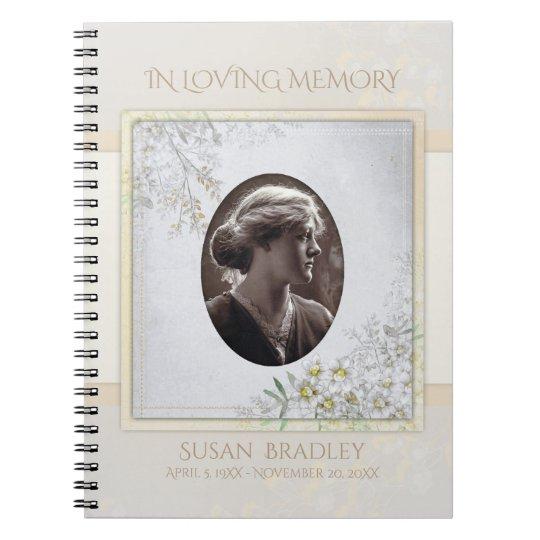 Pastel Vintage Flowers Funeral Memorial Guest Book Spiral