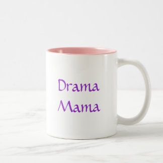Pastel Walking Drama Masks, Drama Mama Two-Tone Mug