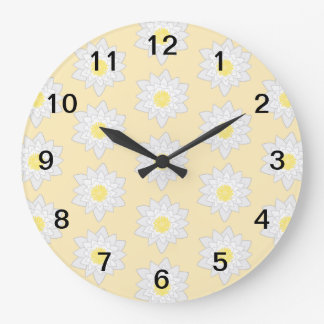 Pastel Water Lilies. Large Clock