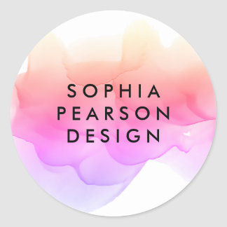 Pastel Watercolor Blot Classic Round Sticker