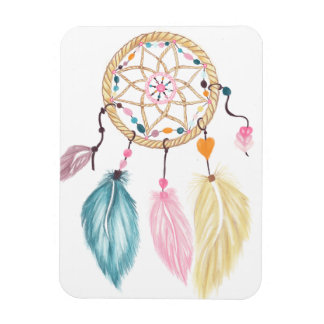 Pastel watercolor boho dreamcatcher feathers magnet