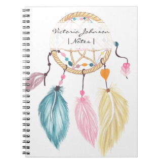 Pastel watercolor boho dreamcatcher feathers notebook