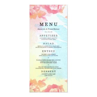 Pastel Watercolor Bouquet Wedding Menu Card 10 Cm X 24 Cm Invitation Card