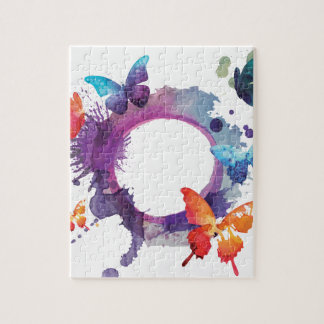 Pastel Watercolor Butterflies Around a Ring Jigsaw Puzzle