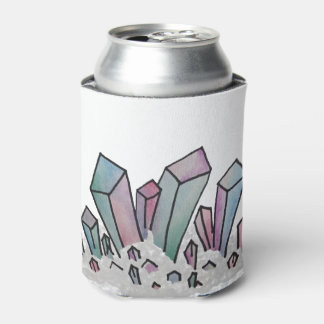 Pastel Watercolor Crystal Cluster Can Cooler