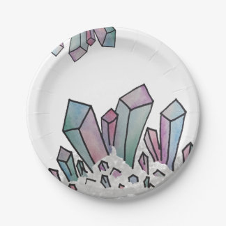 Pastel Watercolor Crystal Cluster Paper Plates