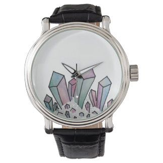 Pastel Watercolor Crystal Cluster Watch