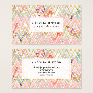 Pastel watercolor floral pink gold chevron pattern