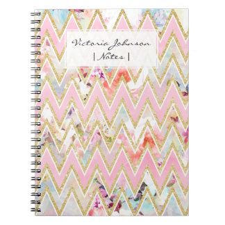 Pastel watercolor floral pink gold chevron pattern notebooks