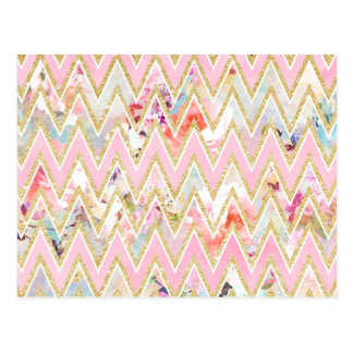 Pastel watercolor floral pink gold chevron pattern postcard