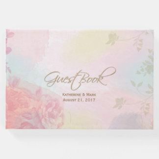 Pastel Watercolor Floral Wedding Guest Book
