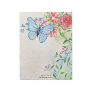 Pastel Watercolor Flowers & Butterfly | Parchment Notepad