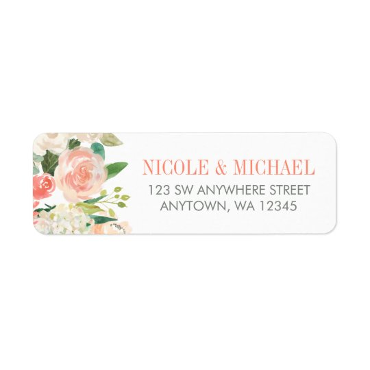 Pastel Watercolor Flowers Return Address