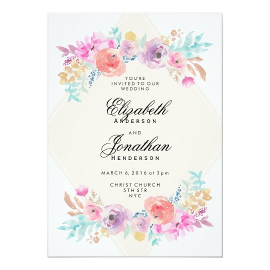 Pastel Watercolor Flowers Wedding Invitation