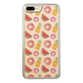 Pastel Watercolor Pool Float Pattern Carved iPhone 8 Plus/7 Plus Case
